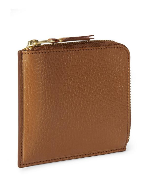 Half Zip Pebble Leather Wallet