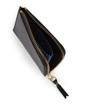 Half Zip Pebble Leather Wallet