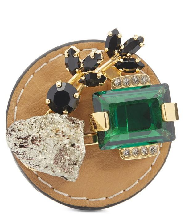 Pyrite and Crystal Leather Brooch
