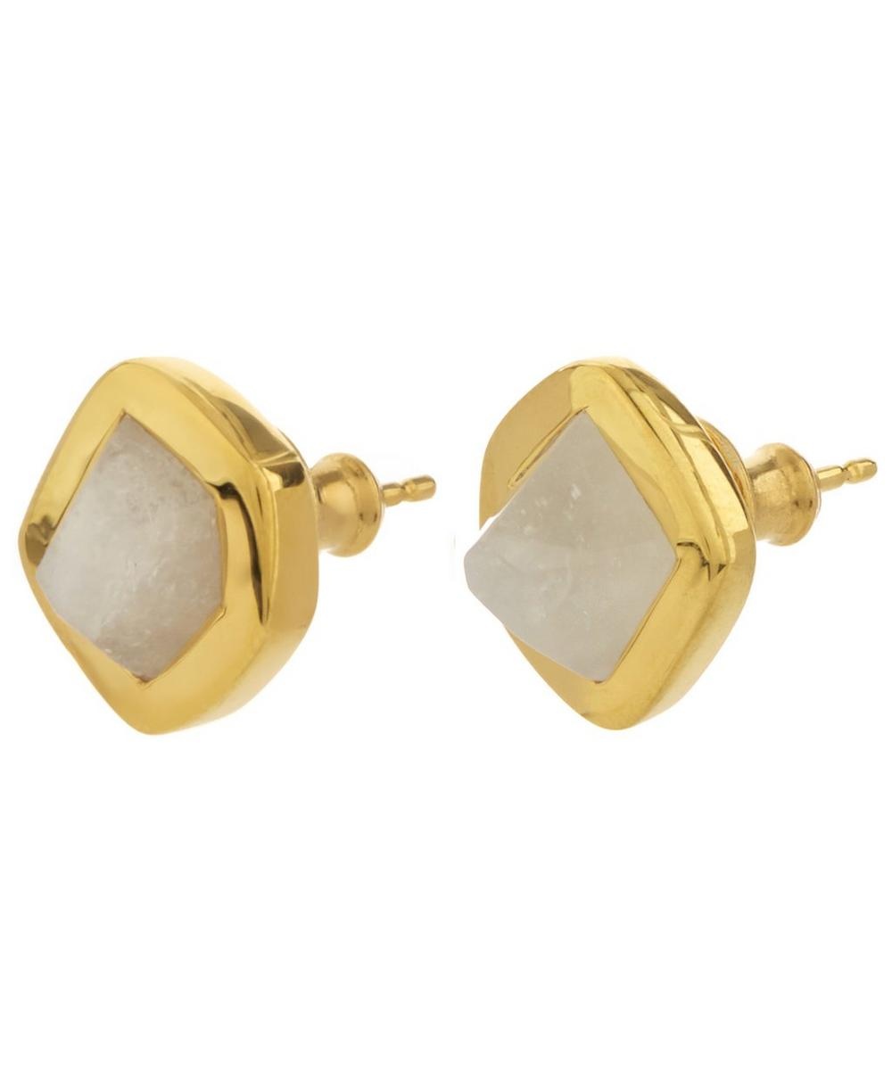 Gold-Plated Petra Moonstone Stud Earrings