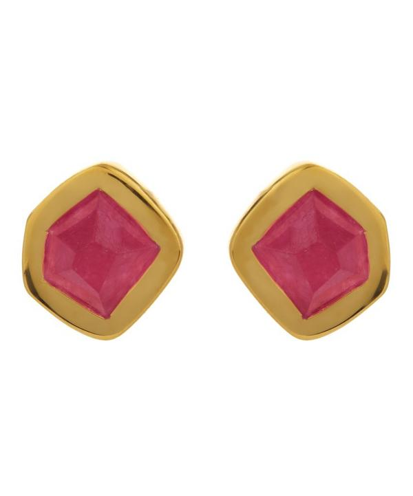 Gold-Plated Petra Pink Quartz Stud Earrings