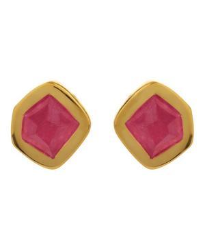 Gold-Plated Petra Pink Quartz Stud Earrings