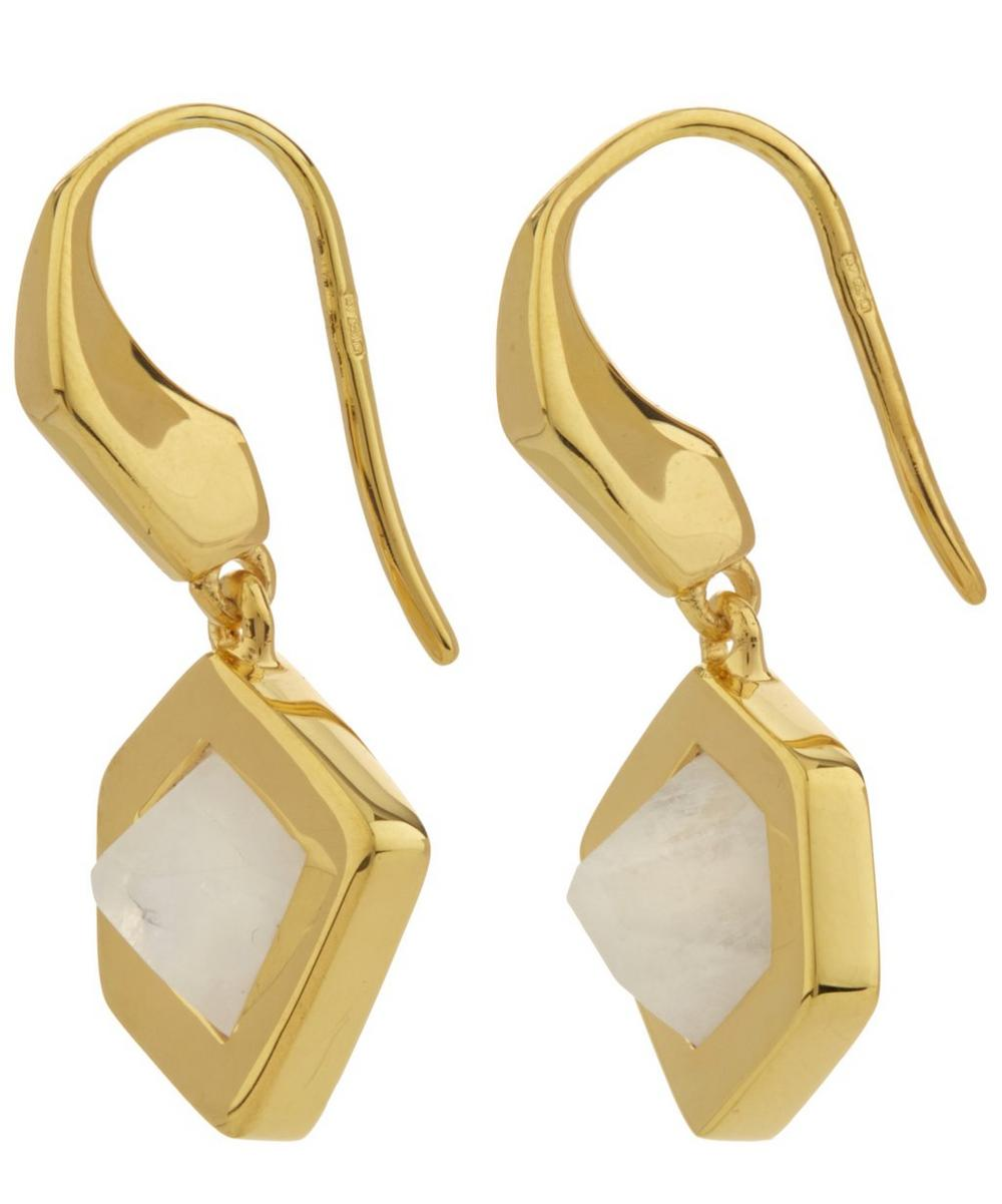 Gold-Plated Petra Moonstone Earrings