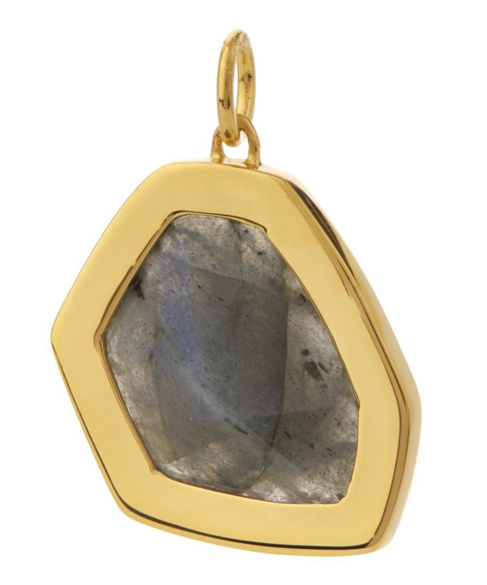 Gold-Plated Large Petra Labradorite Pendant Necklace