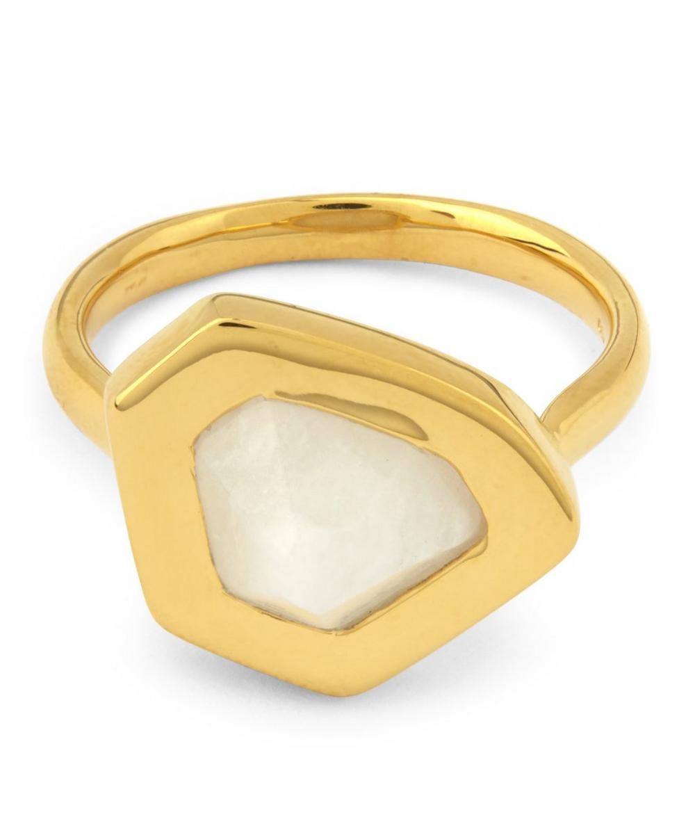 Gold-Plated Petra Moonstone Stacking Rings