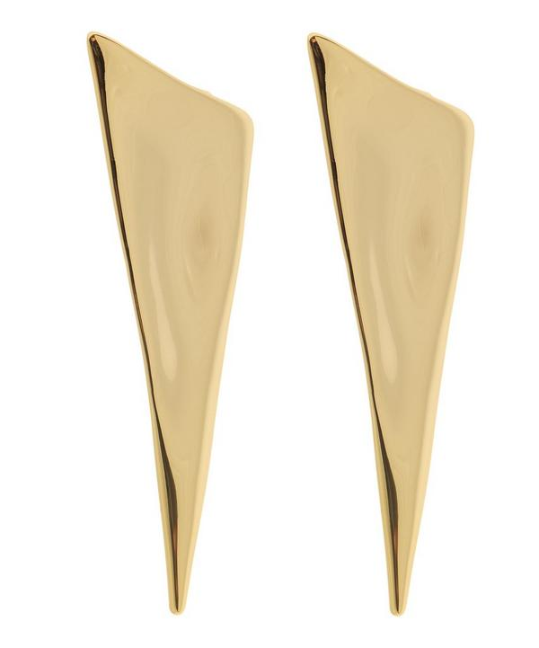 Liquid Gold Angled Pyramid Post Earrings