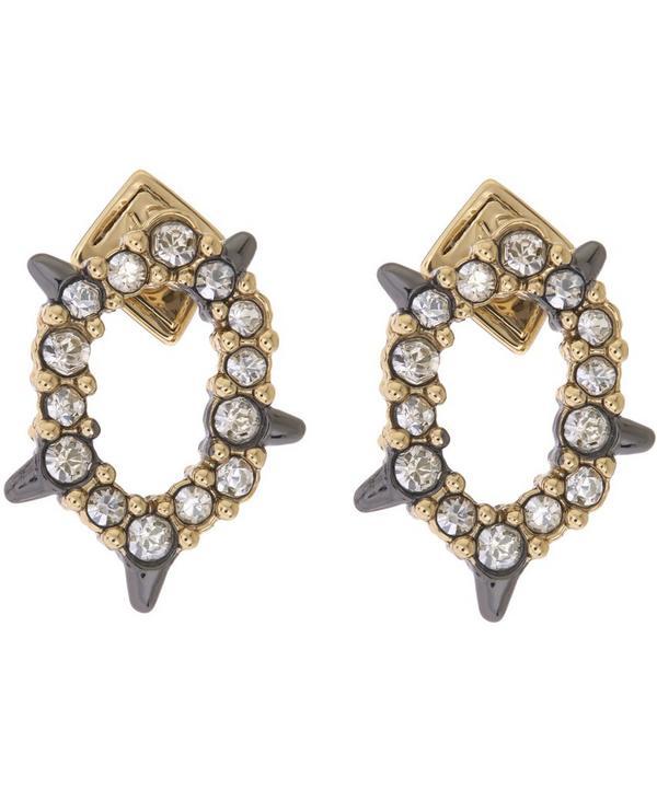 Crystal Encrusted Spiked Stud Earrings