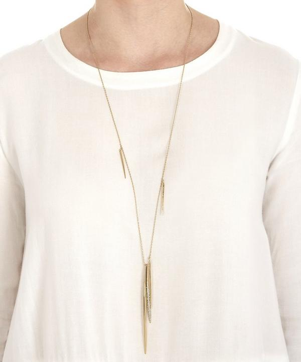 Crystal Encrusted Long Spear Necklace
