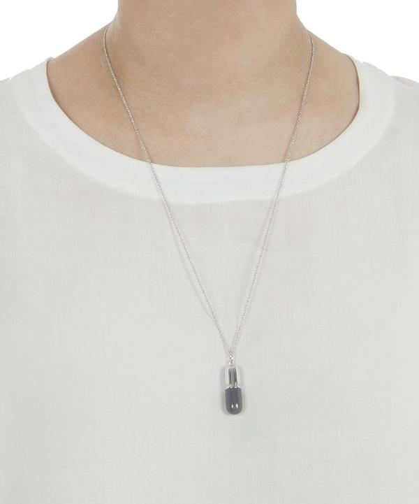 Large Silver Charcoal Pill Necklace