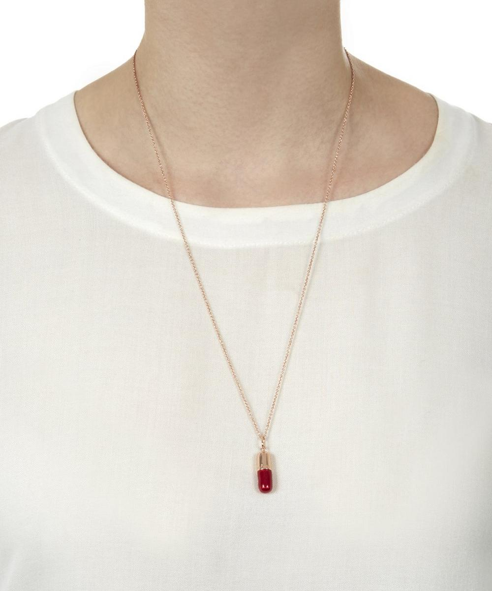 Small Rose Gold Burgundy Pill Necklace