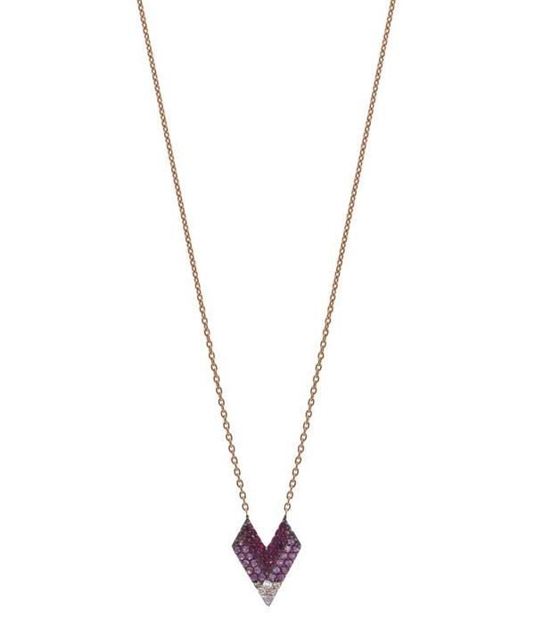 Rose Gold White Diamond and Ruby Edgy Heart Pendant Necklace