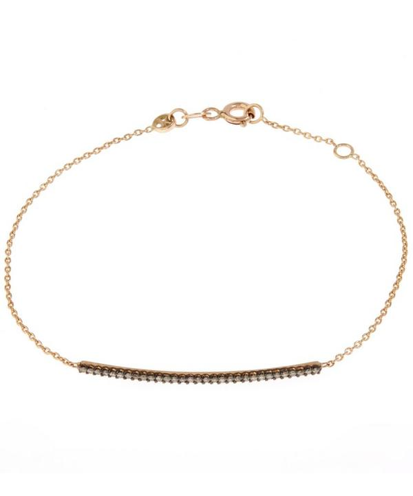 Rose Gold Lumiere Champagne Diamond Bar Bracelet with Chain