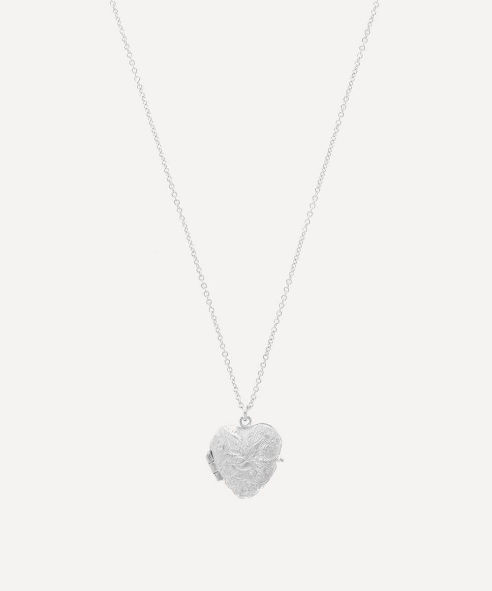 Sterling Silver Victorian Style Swallow Engraved Locket Necklace