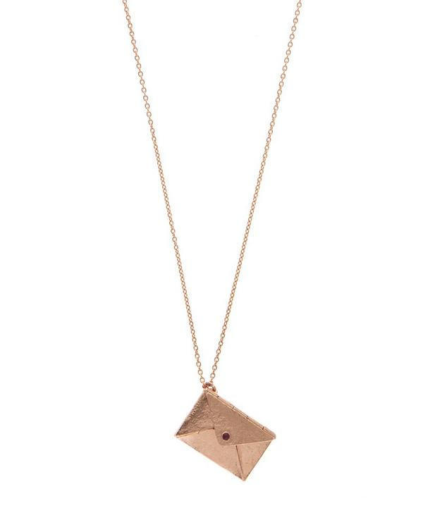Rose Gold-Plated Ruby Detail Opening Bon Voyage Envelope Necklace
