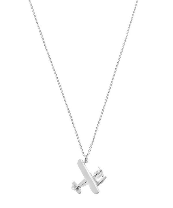 Sterling Silver Biplane with Moving Propeller Necklace