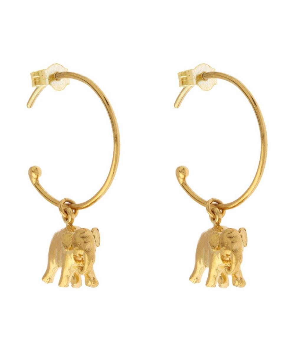 Gold Plated Indian Elephant Mini Hoop Earrings