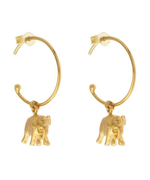 Gold-Plated Indian Elephant Mini Hoop Earrings
