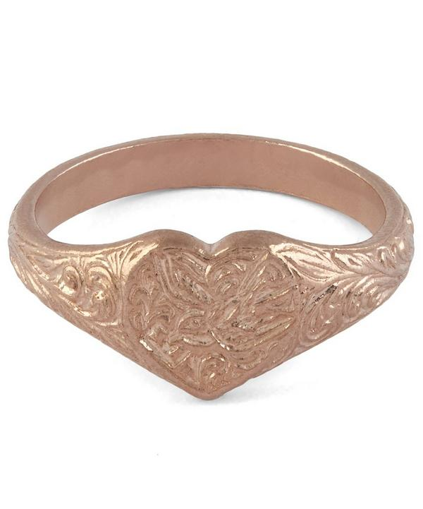 Rose Gold-Plated Victorian Swallow Engraved Signet Ring
