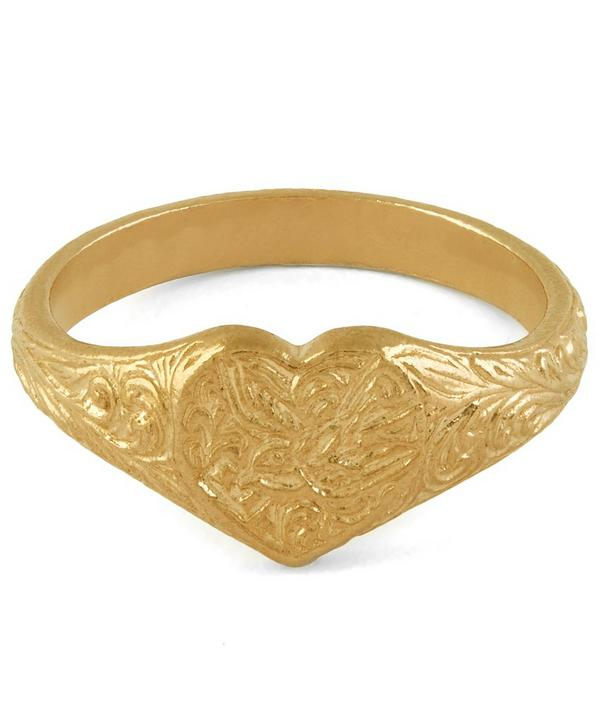 Gold-Plated Victorian Swallow Engraved Signet Ring