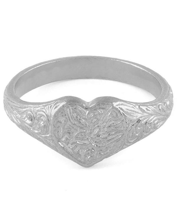 Sterling Silver Victorian Swallow Engraved Signet Ring