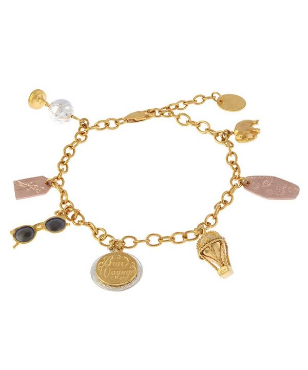 Gold-Plated Bon Voyage Globe Trotter Charm Bracelet