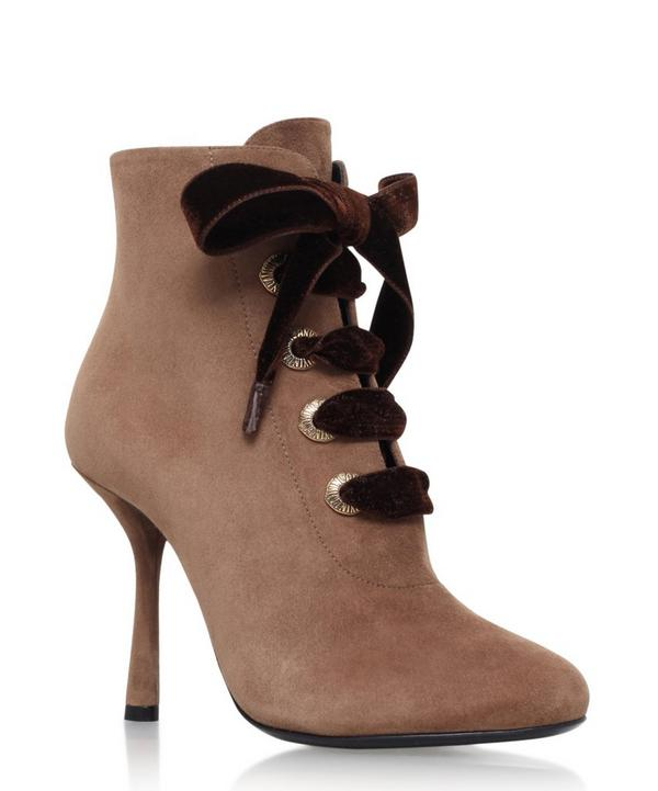 Suede Ribbon Detail Ankle Booties