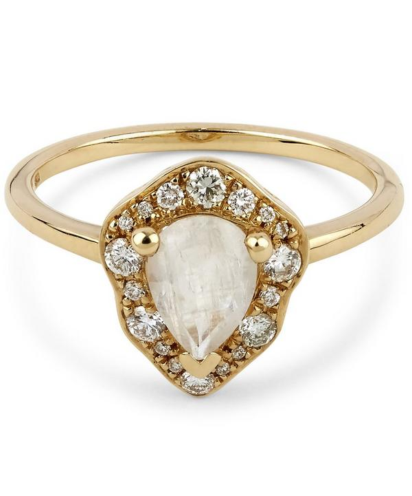 Anna Sheffield Gold Camellia Petal Rainbow Moonstone Ring