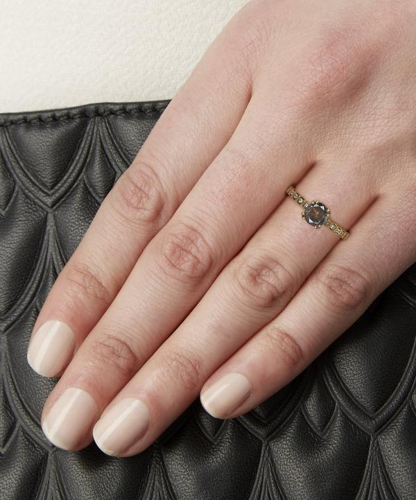 Gold Grey Diamond Tiny Wheat Ring