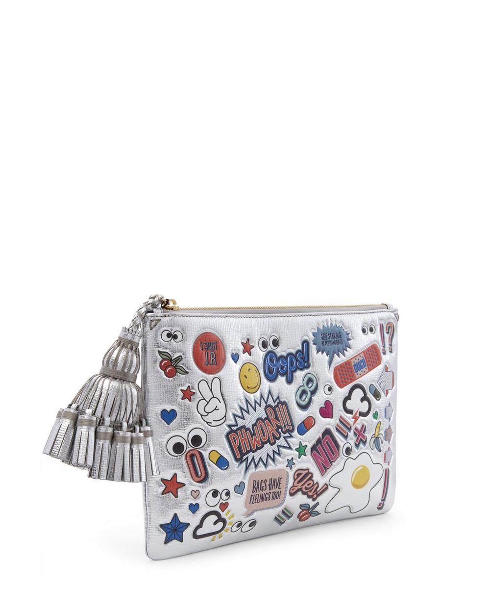Metallic Leather Stickers Detail Georgiana Clutch Bag
