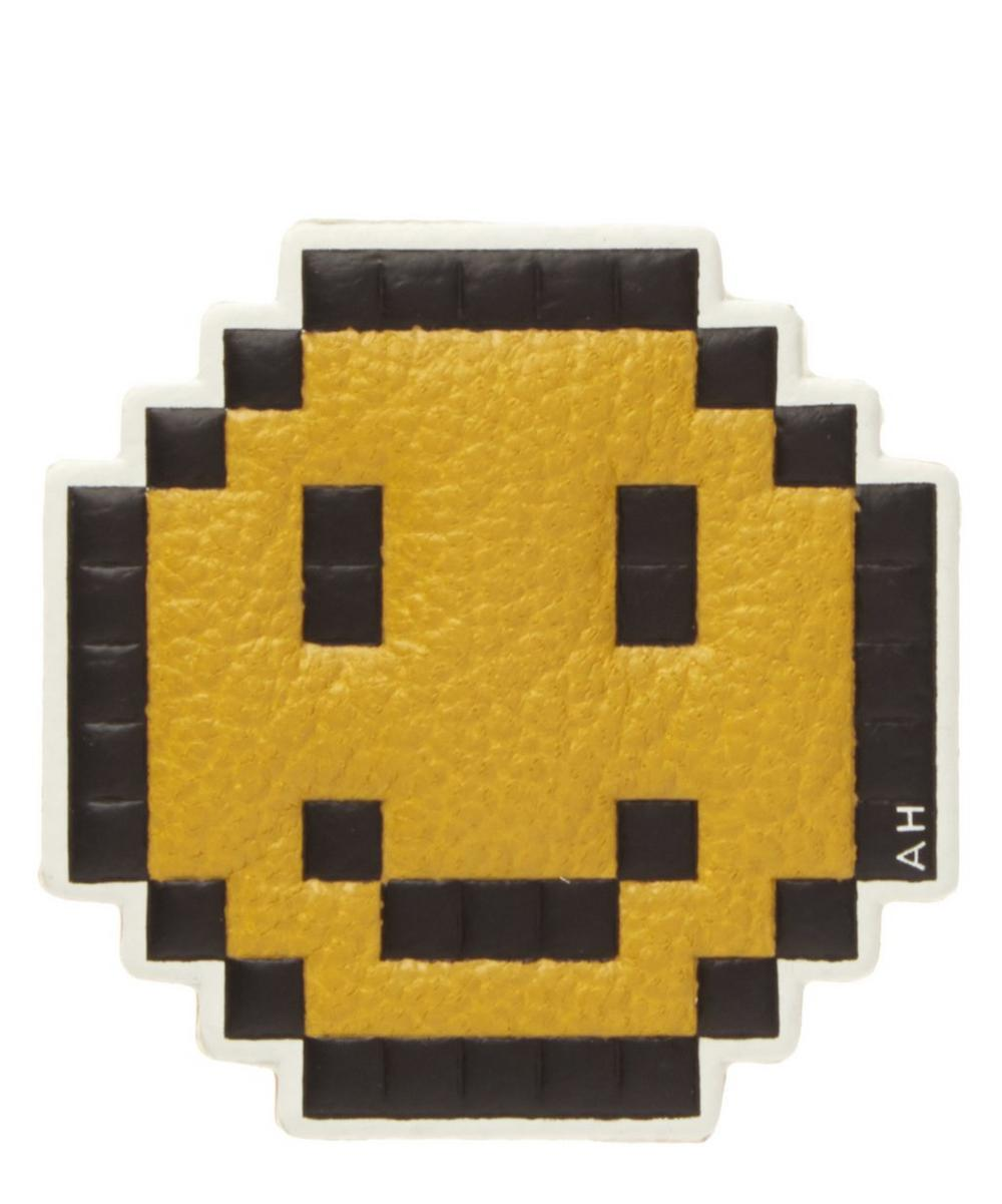 Pixelated Smiley Face Leather Sticker