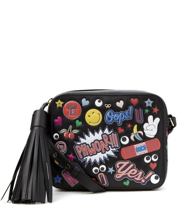 Sticker Detailed Leather Crossbody Bag
