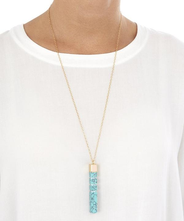 Resin Turquoise-Effect Column Pendant Necklace