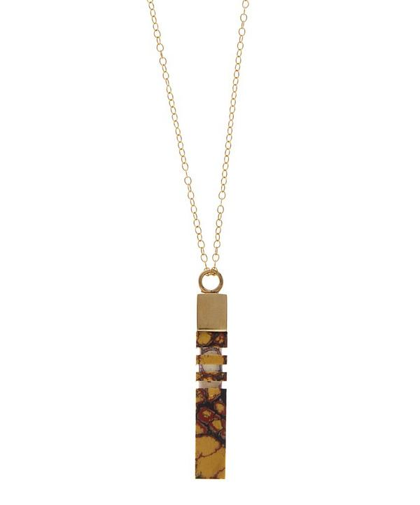 Marbled Resin Column Pendant Necklace