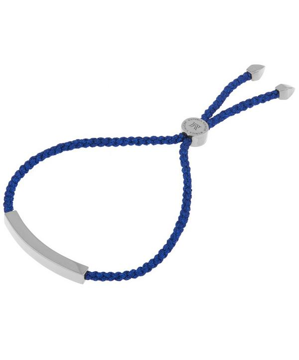 Silver Linear Navy Cord Friendship Bracelet