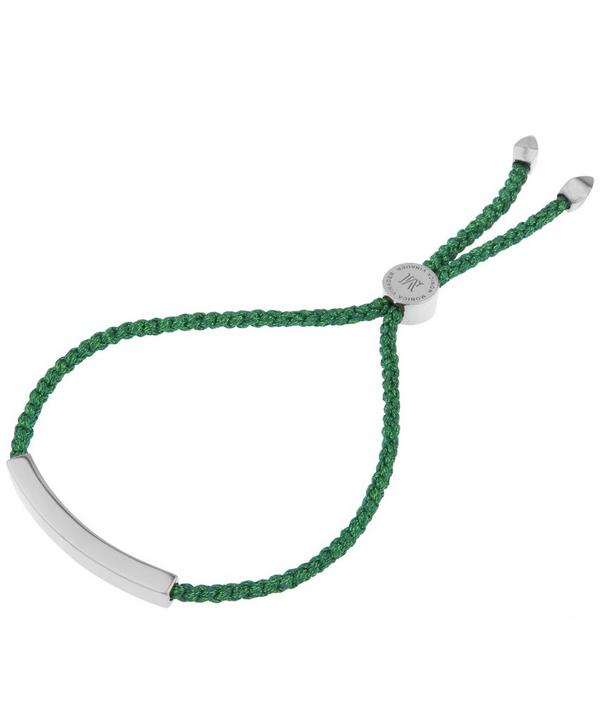 Silver Linear Green Cord Friendship Bracelet