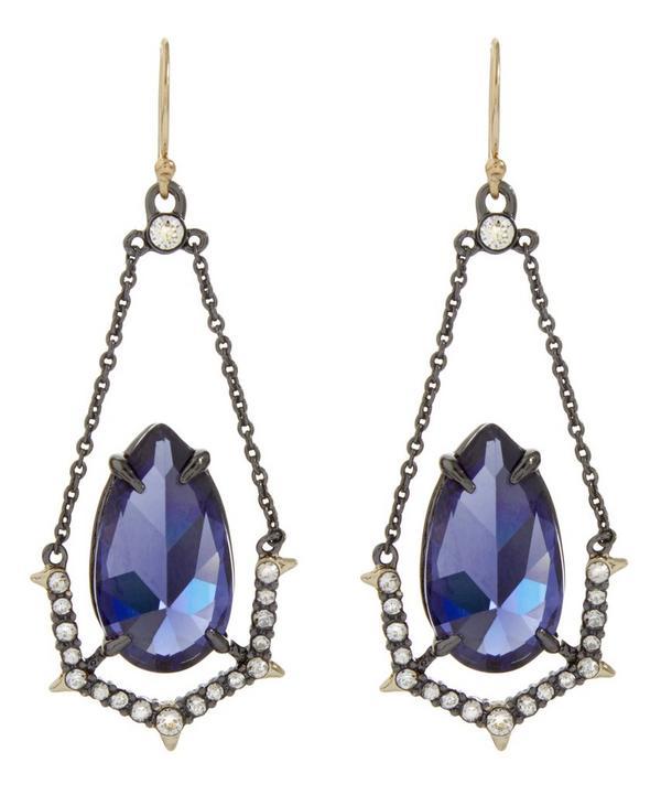Crystal Encrusted Suspended Stone Drop Earrings