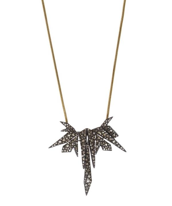 Two-Tone Crystal Encrusted Origami Pendant Necklace
