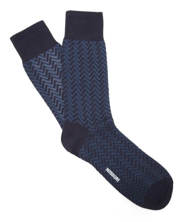 Two Tone Zig Zag Socks