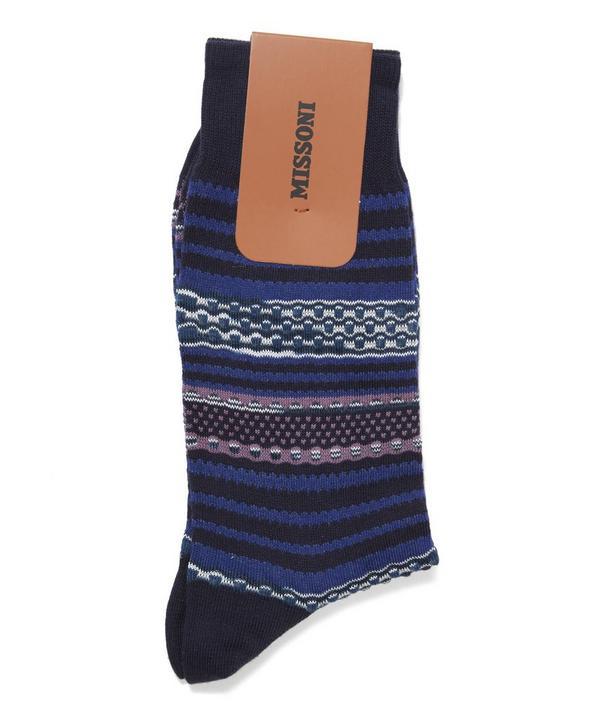 Horizontal Stripe and Circle Socks