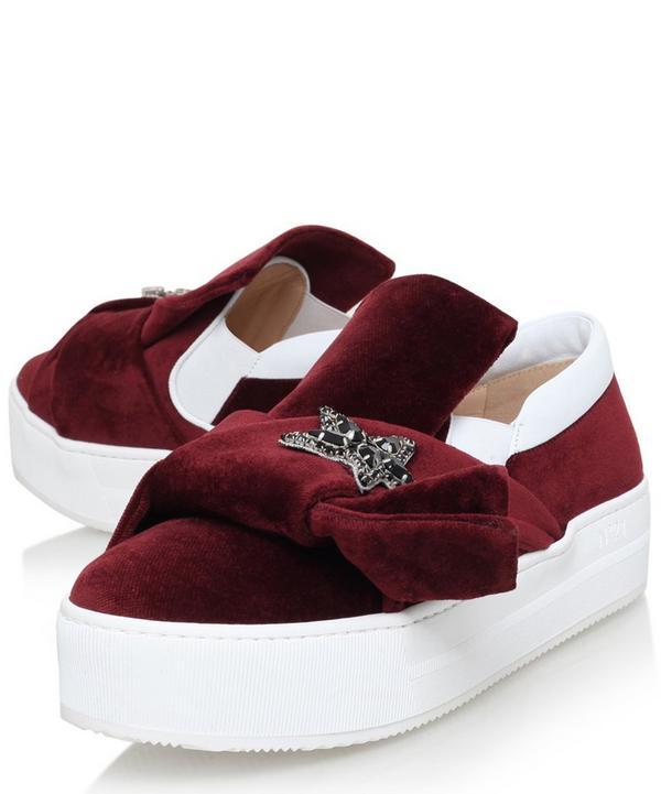 Bow Detail Star-Embellished Velvet Skate Shoes