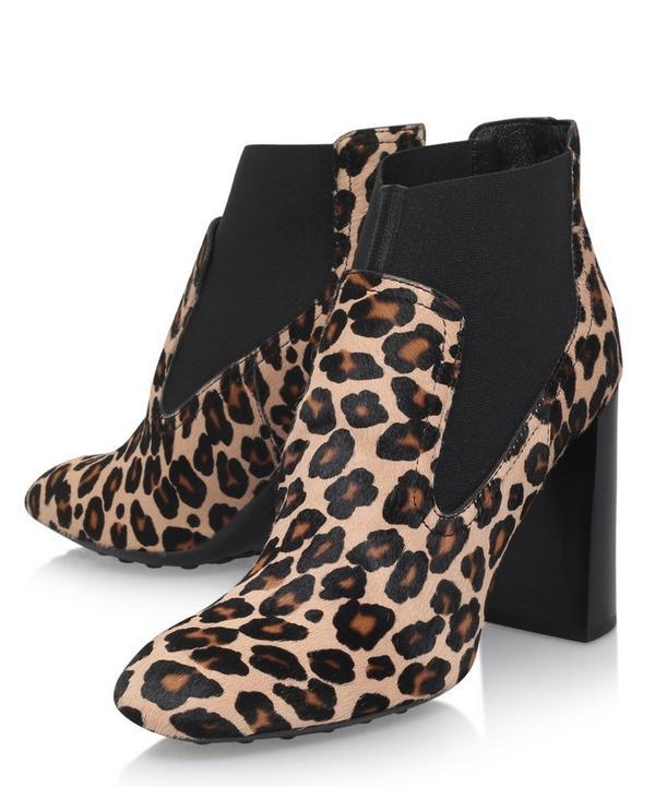 Calf Hair Leopard Print Chelsea Boots