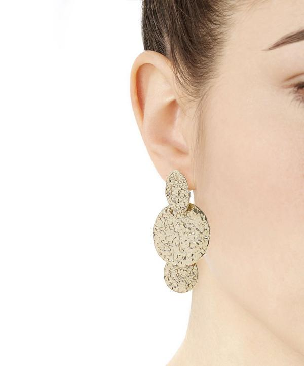 Hammered Disc Drop Clip-On Earrings