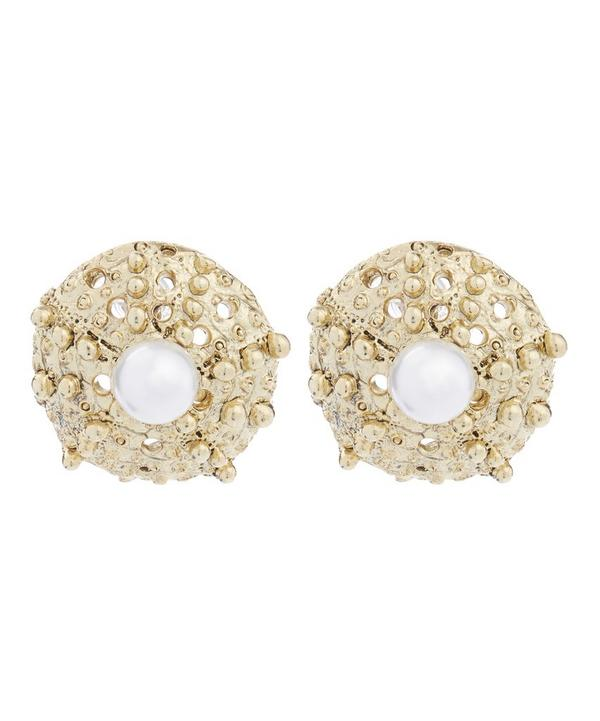 Urchin Pearl Button Earrings