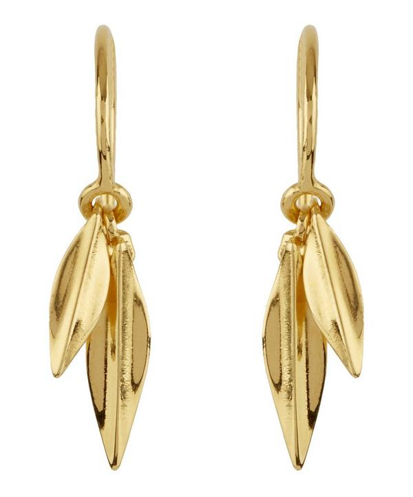 Gold-Plated Lotus Double Leaf Drop Earrings