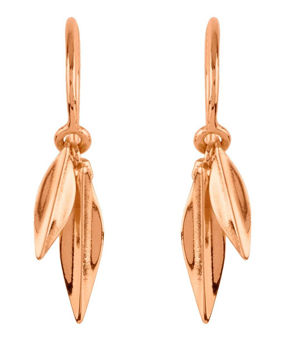 Rose Gold-Plated Lotus Double Leaf Drop Earrings