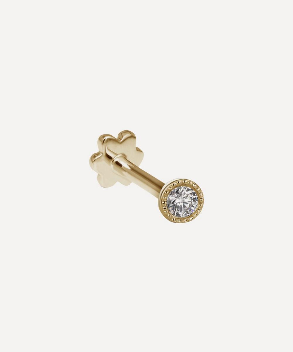 1.2mm Scalloped Set Diamond Threaded Stud Earring