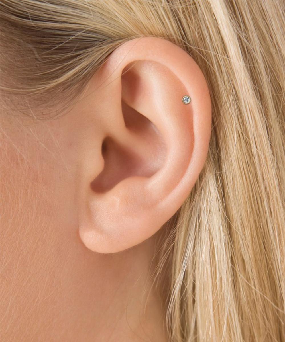 2mm Scalloped Set Diamond Threaded Stud Earring