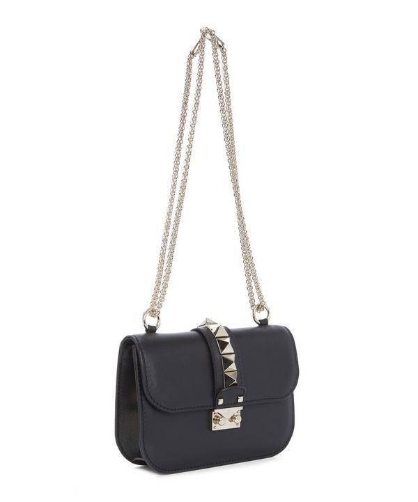 Rockstud Lock Leather Shoulder Bag