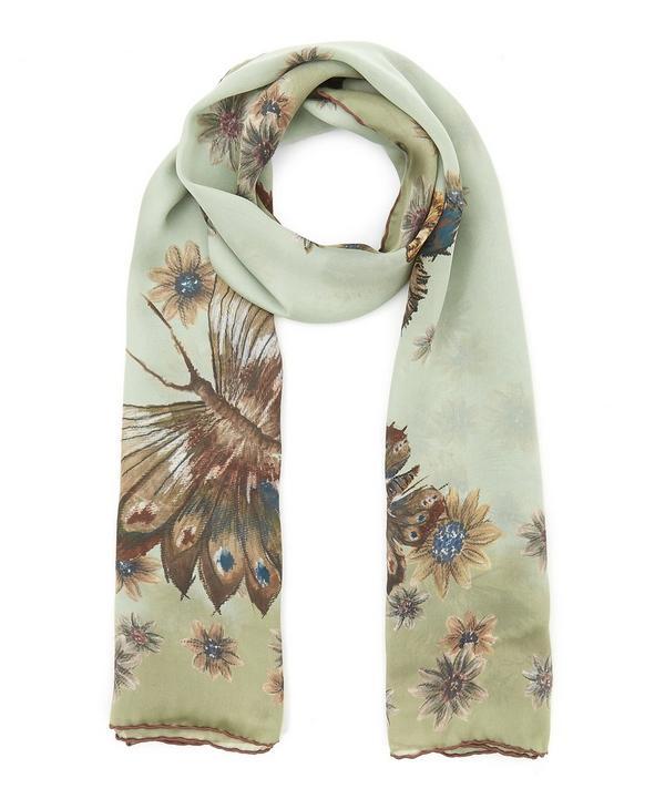 Mariposa Garden Print Silk Scarf
