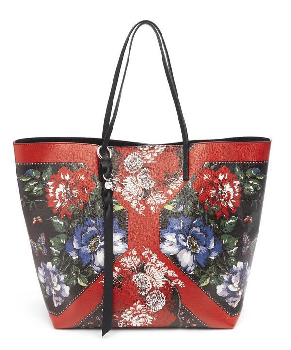 Floral Table Cloth Skull Open Shopper Tote Bag